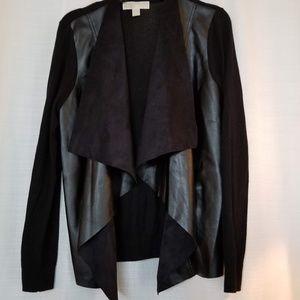 Michael Kors Black Draped Faux Leather Sweater S